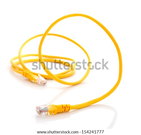 computer ethernet cable isolated on white background - stock photo