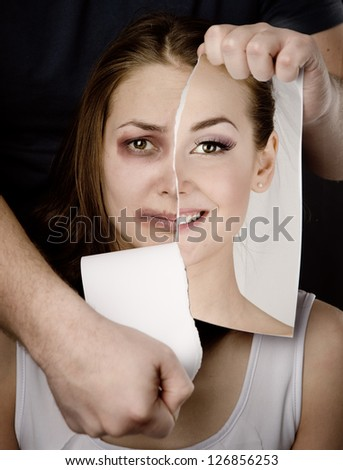 concept violence in family. on dark background - stock photo