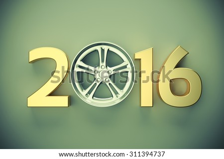 2016 concept with car wheel - stock photo