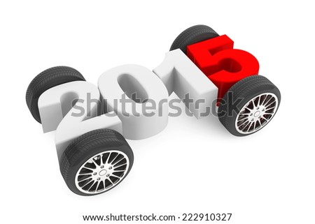 2015 concept with car wheels on a white background - stock photo