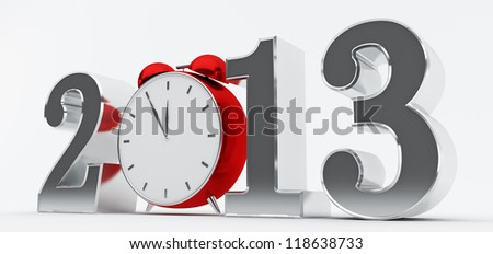 2013 concept with red clock - stock photo