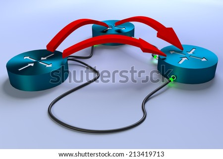 3 connected routers with all links up, red arrows showing all possible routes - stock photo