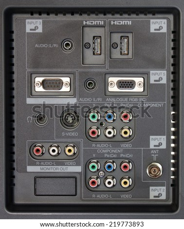connection panel of tv player - stock photo