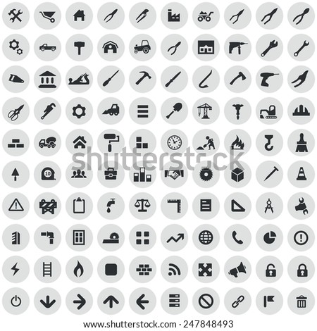 100 construction icons, black on circle gray background - stock photo