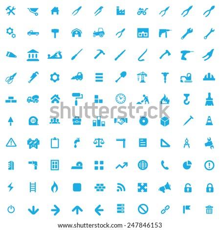 100 construction icons, blue on white background - stock photo