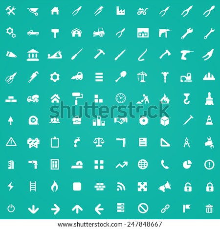 100 construction icons, white on green background - stock photo