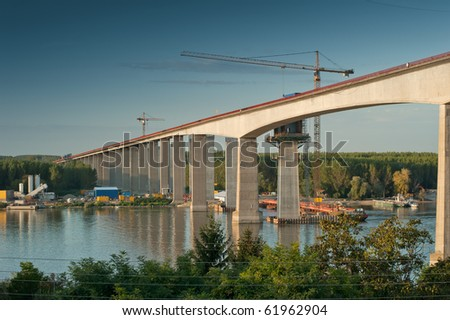 Construction of a new bridge over the river Danube, Serbian - stock photo