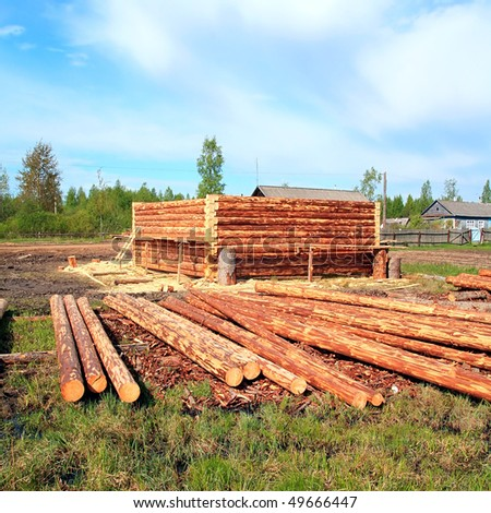 construction of the new wooden building - stock photo