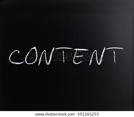 """Content"" handwritten with white chalk on a blackboard. - stock photo"