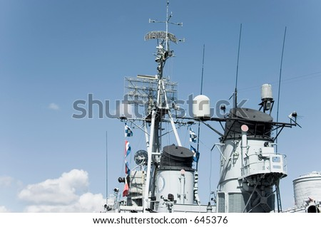 control tower on the WWII Navy destroyer USS Cassin, Boston,  Massachusetts - stock photo