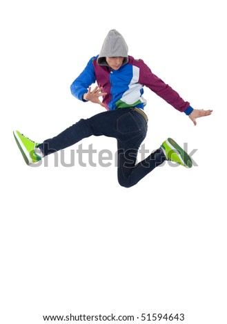 cool looking dancer jumping on a white background - stock photo