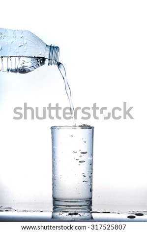 cool water in glass on white background - stock photo
