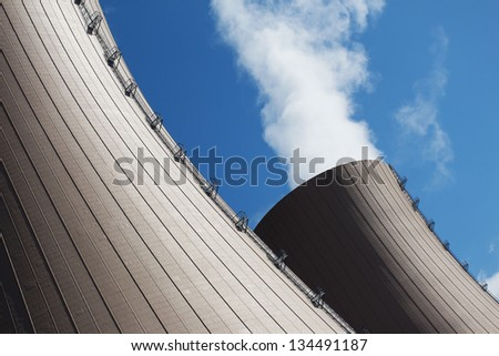 Cooling towers of nuclear power plant - stock photo