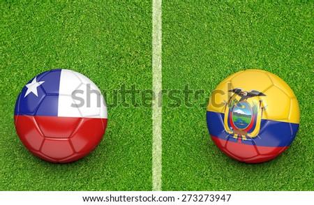 2015 Copa América football tournament, teams Chile vs Ecuador - stock photo