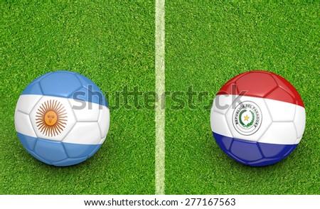2015 Copa America football tournament, teams Argentina vs Paraguay - stock photo
