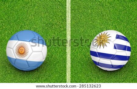 2015 Copa America football tournament, teams Argentina vs Uruguay - stock photo