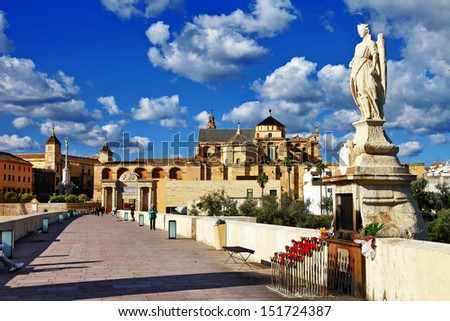 Cordoba. Andalusia. view with mosque and bridge  - stock photo