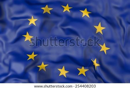 Corrugated European Union flag 3D illustration - stock photo