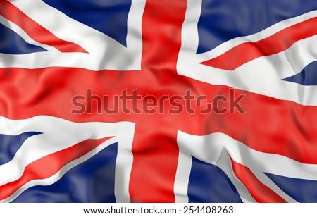 Corrugated United Kingdom flag 3D illustration - stock photo