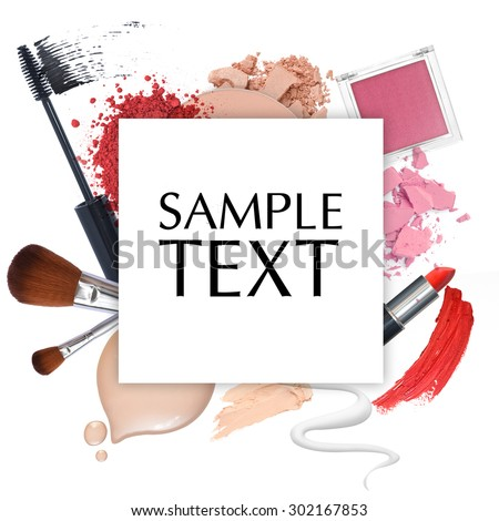 cosmetic promotion frame on a white background - stock photo