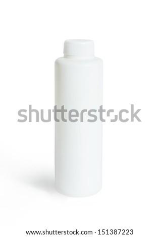 Cosmetics white plastic bottle isolated over white background - stock photo