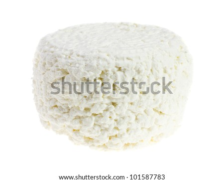 Cottage cheese  on a white background - stock photo