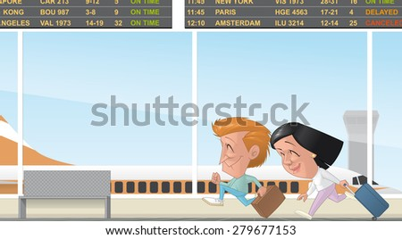 Couple running in the airport terminal - stock photo