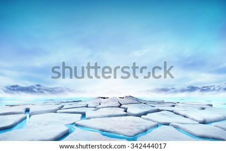 cracked ice floe floating on blue water mountain lake, seasonal winter landscape digital illustration - stock photo