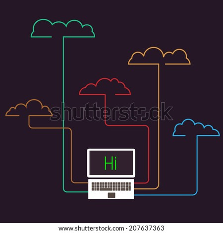 Creative cloud computing concept . Raster version - stock photo