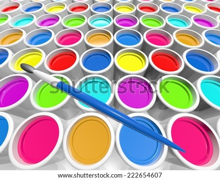 creativity concept with metal cans with colorful paint dye and brush - stock photo