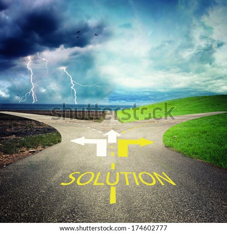crossroads with storm and sunshine - stock photo