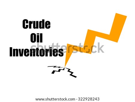 """""""Crude oil inventories""""  text and an arrow going down isolated on white background - stock photo"""