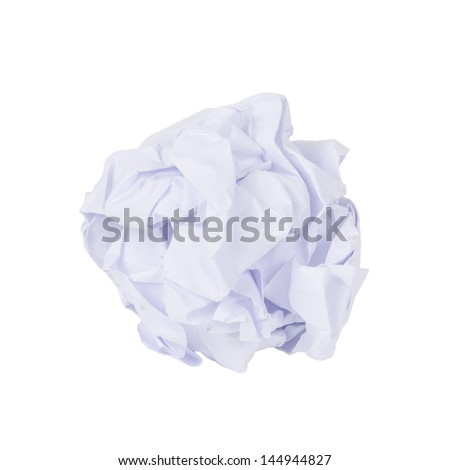 crumpled paper ball isolated on white - stock photo