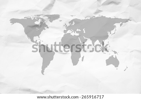 crumpled paper the world map. - stock photo