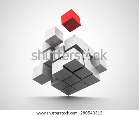 cubes in concept of balance. 3d render - stock photo