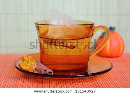 Cup of tea with tea bag - stock photo
