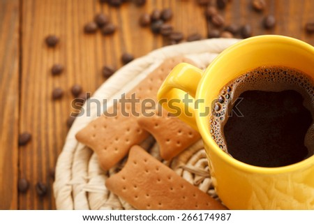cups of coffee and biscuits - stock photo
