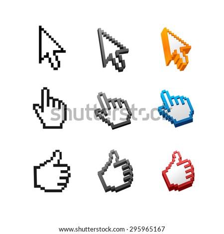 cursors set isolated on white background. Arrow, hand. - stock photo