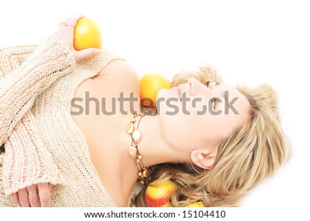 Cute blonde with fruits - stock photo