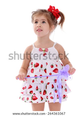 Cute girl in summer dress - isolated on white background - stock photo