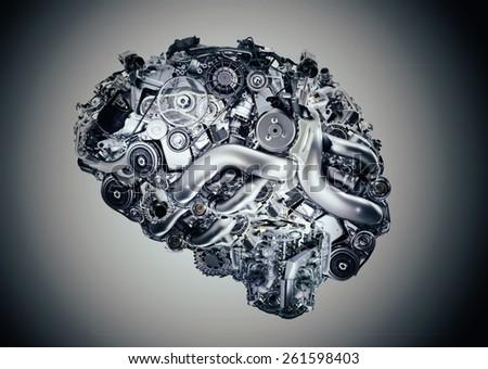 Cyber brain - stock photo