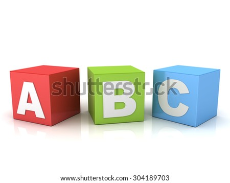 3d a b c letters on red green blue boxes isolated over white background with reflection - stock photo
