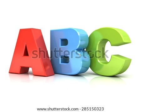 3d abc letters isolated over white background with reflection - stock photo