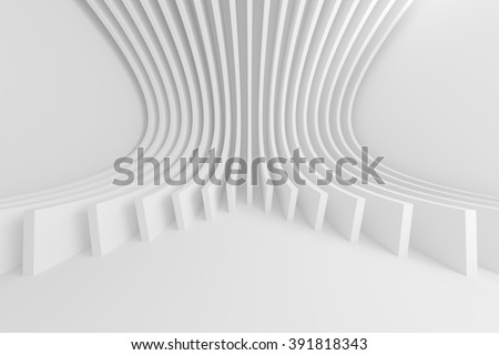 3d Abstract Architecture Background. White Circular Design - stock photo