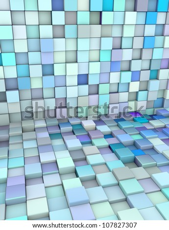 3d abstract backdrop in different shades blue purple - stock photo