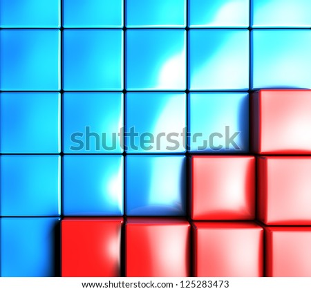 3d abstract background by colored cubes - stock photo