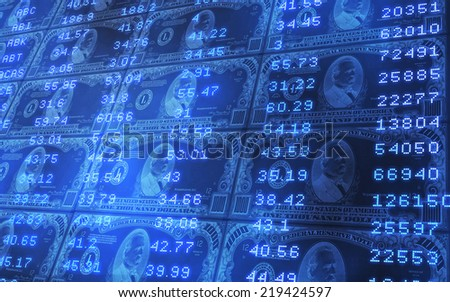 3D abstract background of 1000 dollars bills stacked with stock market ticker data - stock photo