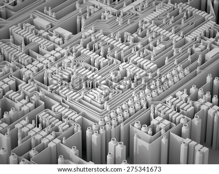 3d abstract background of extruded white microchips on a circuit board - stock photo
