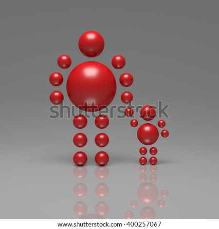 3D abstract  Ballman characters  on a grey background - stock photo
