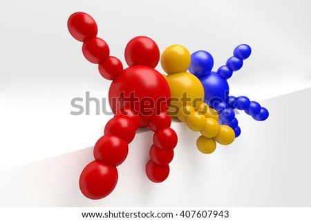 """3D abstract  """"Ballman"""" multicolored characters  on a white background - stock photo"""